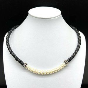 Honora Freshwater Pearl Sterling Necklace Leather